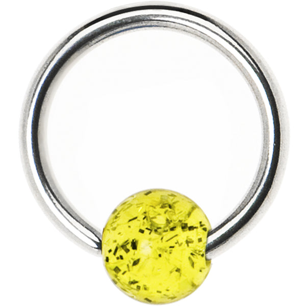 14 Gauge LEMON Acrylic Glitter Ball BCR Captive Ring