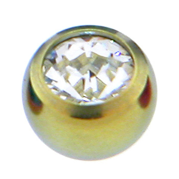 Yellow Titanium Gem Threaded 5mm Replacement Ball
