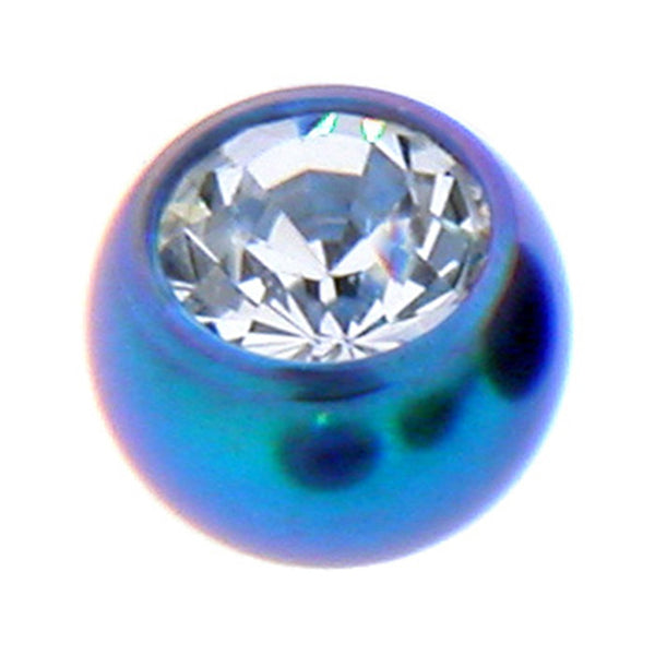 Teal Titanium Gem Threaded 5mm Replacement Ball