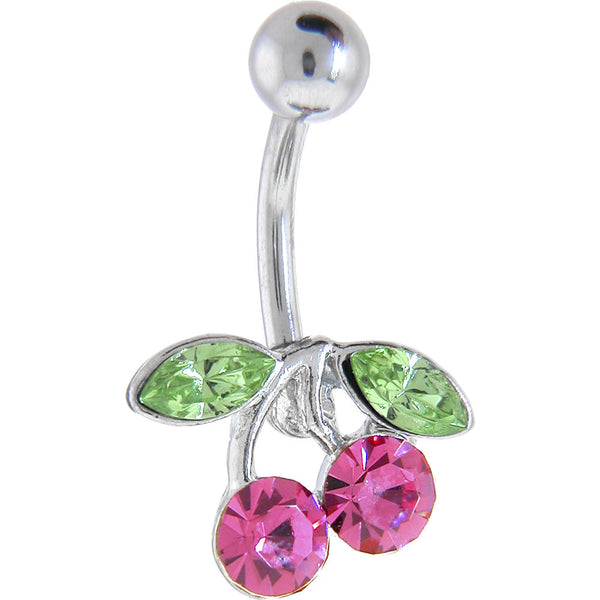 Pink Cubic Zirconia Cherry Belly Ring