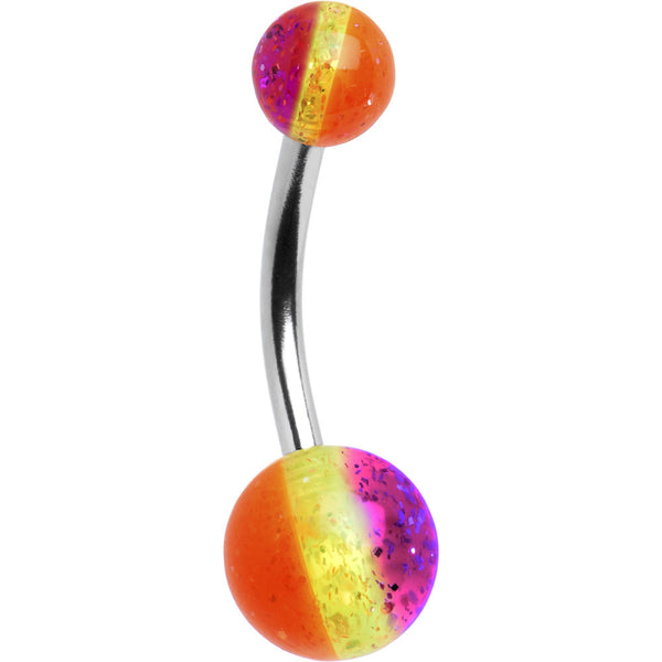 Fruity Stripe Glitter Acrylic Belly Button Ring