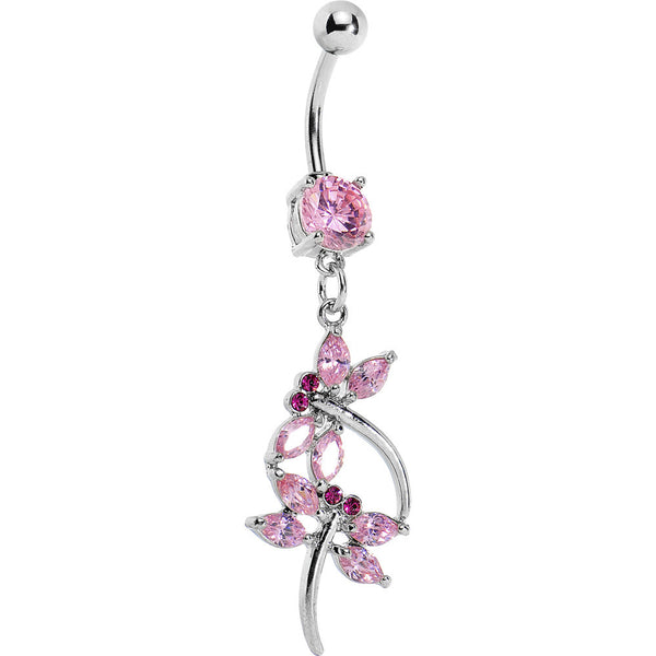 Pink Cubic Zirconia Double Dragonfly Belly Ring