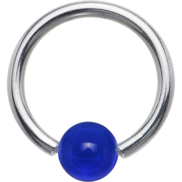 14 gauge Electric Blue BCR Captive Ring