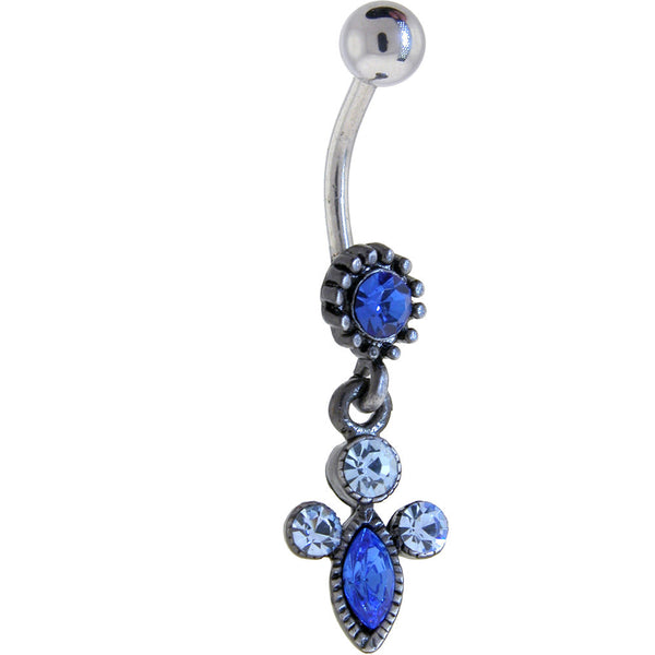 Antique Silver Sapphire Blue VICTORIAN Dangle Belly Ring