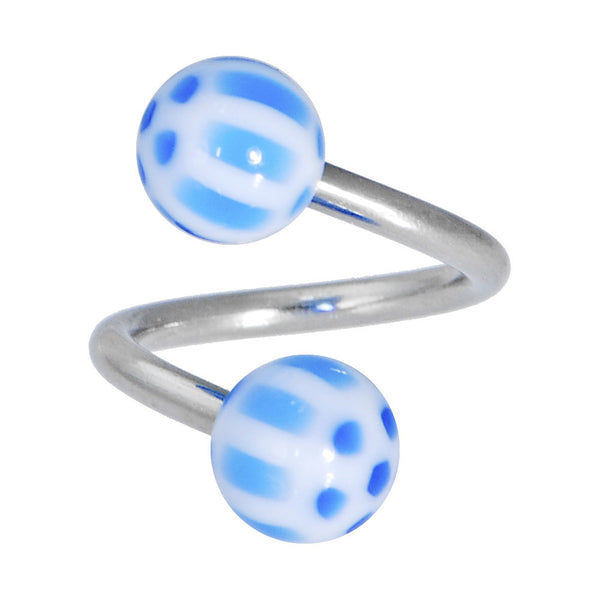 Blue Acrylic Soccer Ball Spiral Twister Belly Ring
