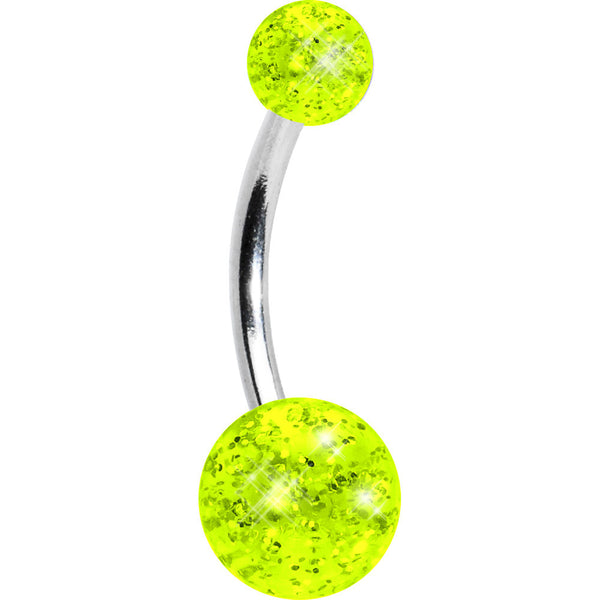 Lemon Tang Glitter Acrylic Ball Belly Button Ring