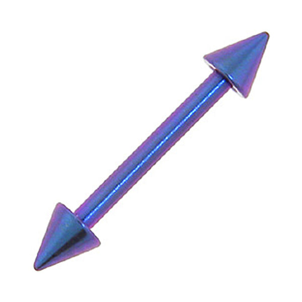 Solid Titanium Dream Blue Purple Cone Eyebrow Barbell 5/16-3mm