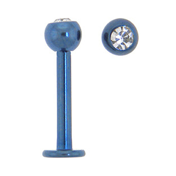 Solid Titanium Single Gem Cobalt Blue Labret 3/8
