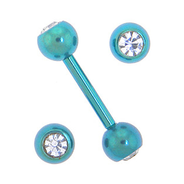Solid Titanium Double Gem Lake Blue Barbell 5/16-4mm