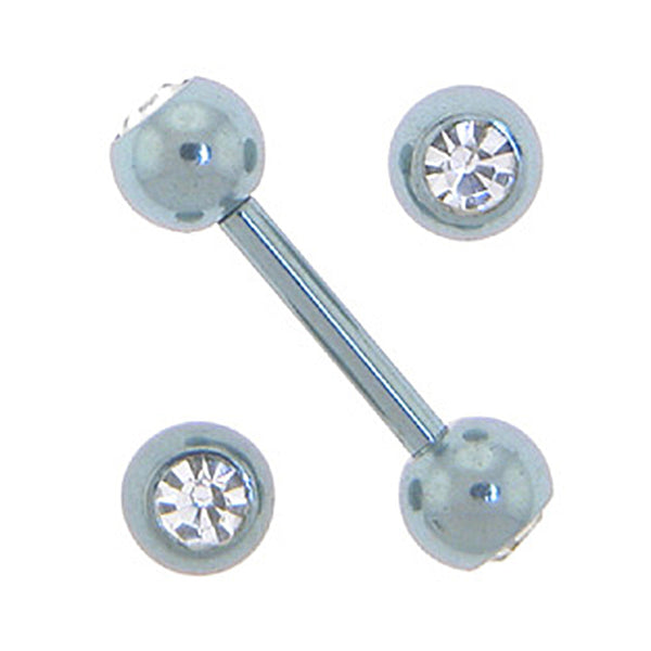 Solid Titanium Double Gem Light Blue Barbell 5/16-4mm