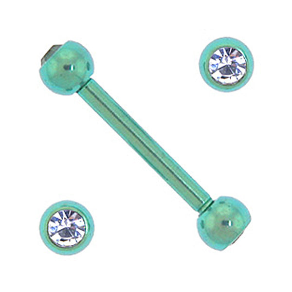 Solid Titanium Double Gem Green Barbell 5/16-3mm