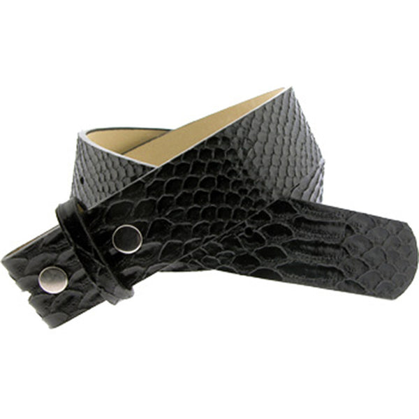 Snake Skin BLACK Leather SNAP Belt