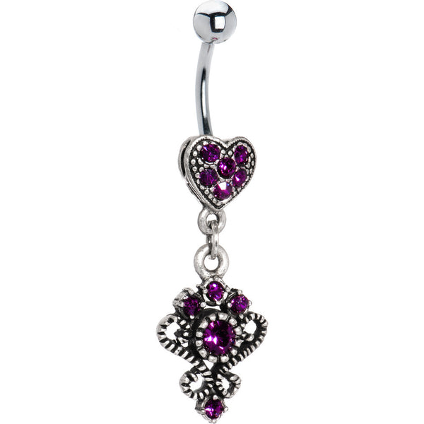Antique Silver Victorian Heart Violet Gem Dangle Belly Ring