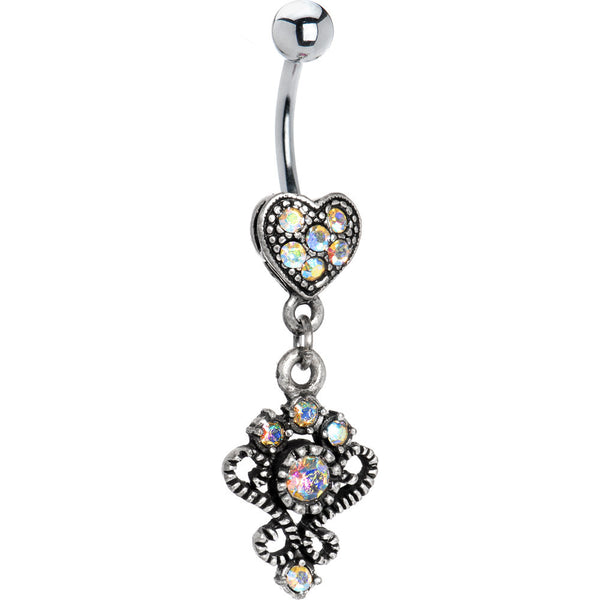 Antique Silver Victorian Heart Aurora Gem Dangle Belly Ring