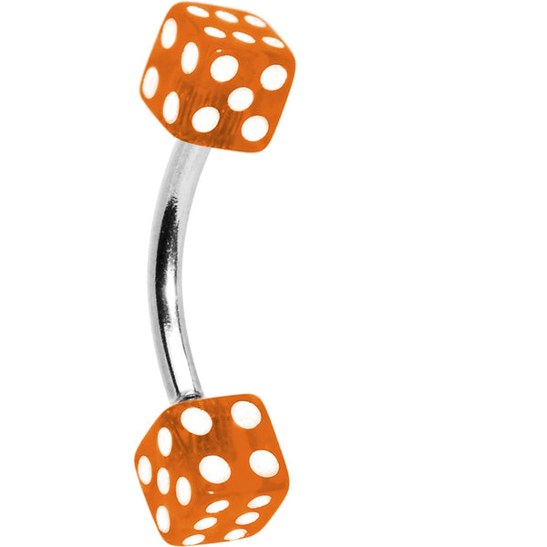 Orange Dice Acrylic Belly Button Ring