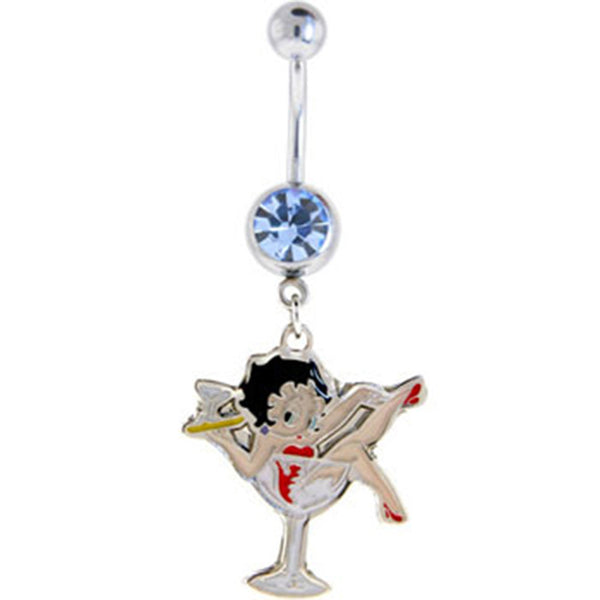 Betty Boop MARTINI GLASS Solar Blue Gem Dangle Belly Ring