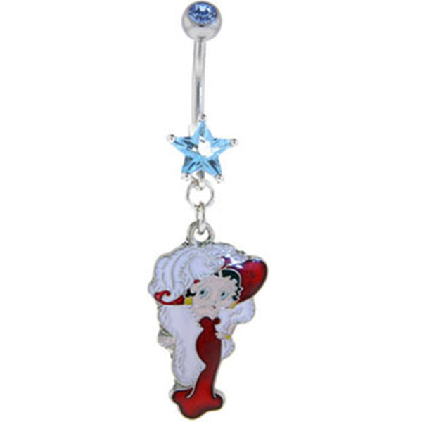 Betty Boop FEATHER HAT BOA Solar Blue STAR Dangle Belly Ring