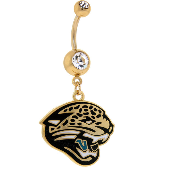 NFL Logo GOLD Double GEM Belly Ring - Jacksonville Jaguars