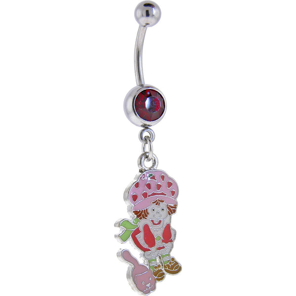 Strawberry Shortcake and CAT Ruby Red GEM Dangle Belly Ring