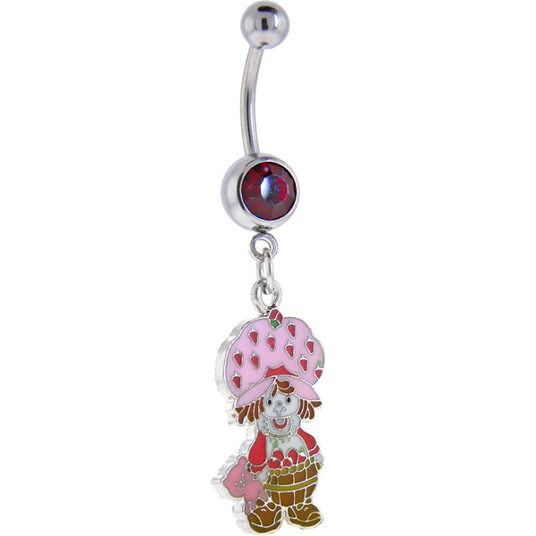 Strawberry Shortcake STRAWBERRY BASKET Ruby Red GEM Dangle Belly Ring
