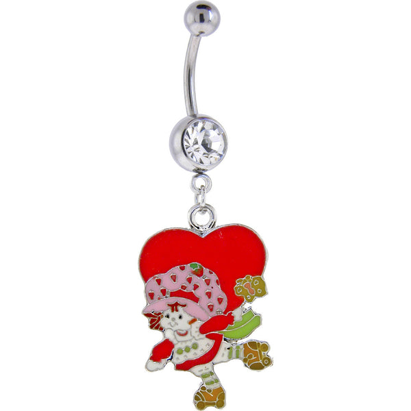 Strawberry Shortcake HEART Crystalline GEM Dangle Belly Ring