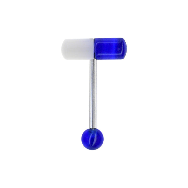 Blue Acrylic CAPSULE Barbell Tongue Ring