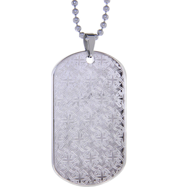 Clear PHAT FARM Laser Etched Pattern Dog ID Tag Necklace