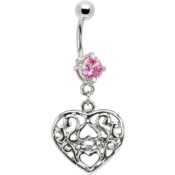 Pink Cubic Zirconia VINTAGE HEART CHARM Dangle Belly Ring