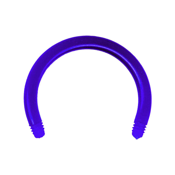 "14 Gauge Blue 1/2"" Bioplast Flexible Replacement Horseshoe Circular Barbell"