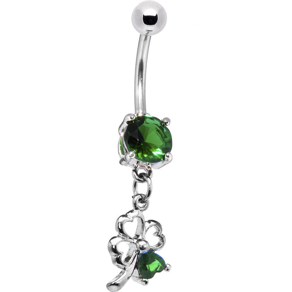 Emerald Green Gem Lucky Shamrock Dangle Belly Ring
