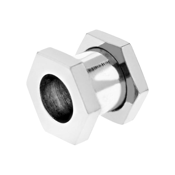 0 Gauge Stainless Steel Screw Fit Hexagon Flesh Tunnel