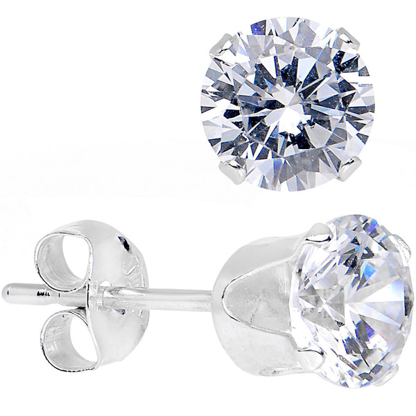 Clear 925 Sterling Silver .47 Carat Cubic Zirconia Round Stud Earrings