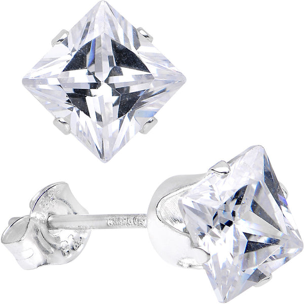 Clear 925 Sterling Silver .47 Carat Cubic Zirconia Square Stud Earrings