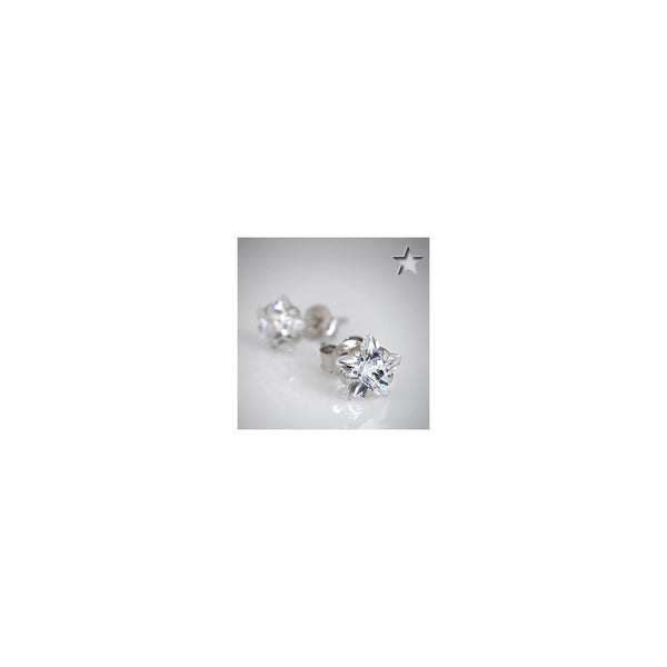 Clear 925 Sterling Silver .47 Carat Cubic Zirconia Star Stud Earrings
