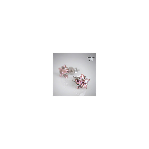 Pink 925 Sterling Silver .47 Carat Cubic Zirconia STAR Stud Earrings