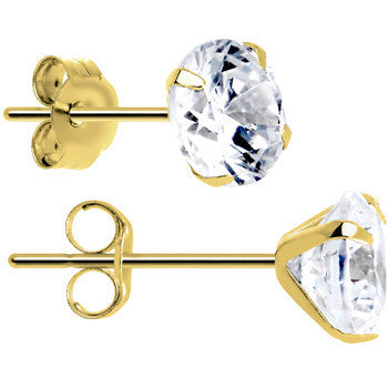 14kt Gold .47 Carat Cubic Zirconia Solitaire Stud Earrings