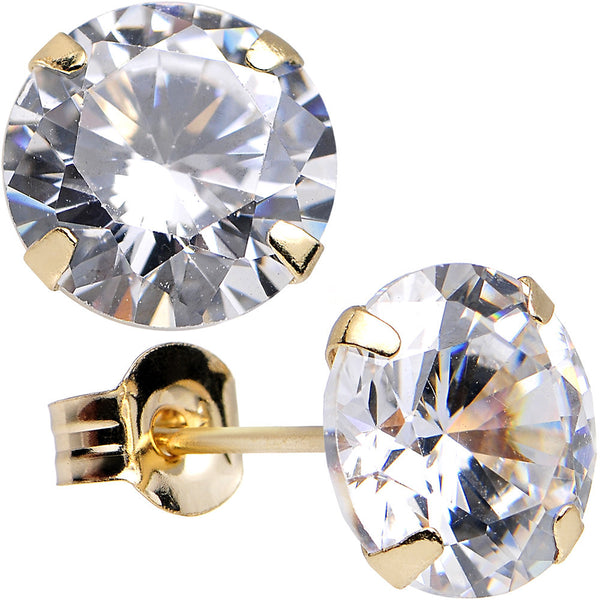 14kt Gold .80 Carat Cubic Zirconia Solitaire Stud Earrings