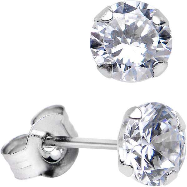 14kt White Gold .23 Carat Cubic Zirconia Solitaire Stud Earrings