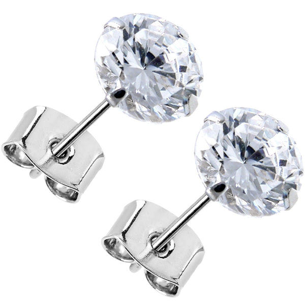 14kt White Gold .80 Carat Cubic Zirconia Solitaire Stud Earrings