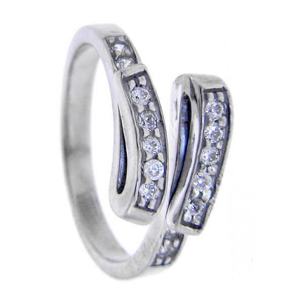 Sterling Silver 925 Cubic Zirconia Swirl Toe Ring