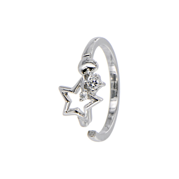 Sterling Silver 925 Cubic Zirconia Star Toe Ring
