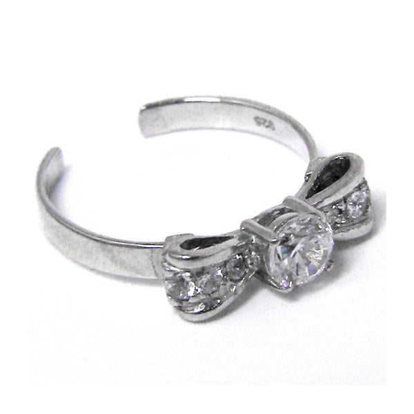 Sterling Silver 925 Cubic Zirconia Bow Solitaire Toe Ring