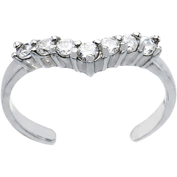 Sterling Silver 925 Cubic Zirconia Princess Toe Ring