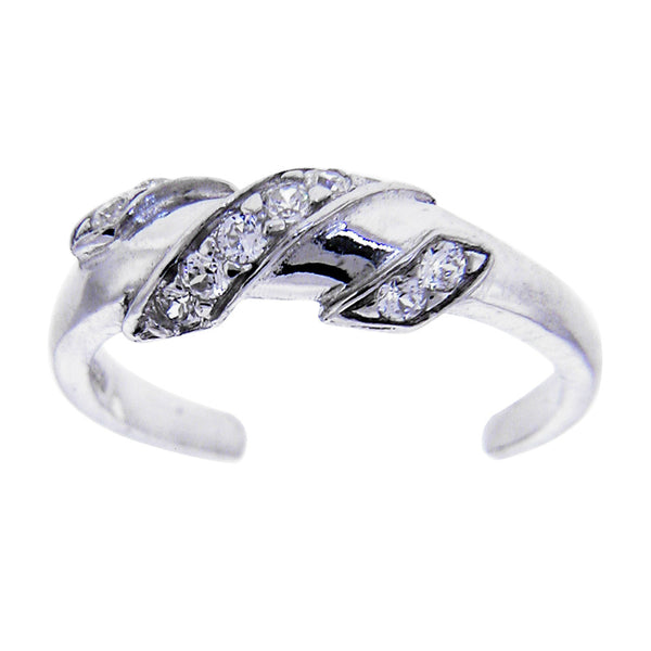 Sterling Silver 925 Cubic Zirconia Twist Toe Ring
