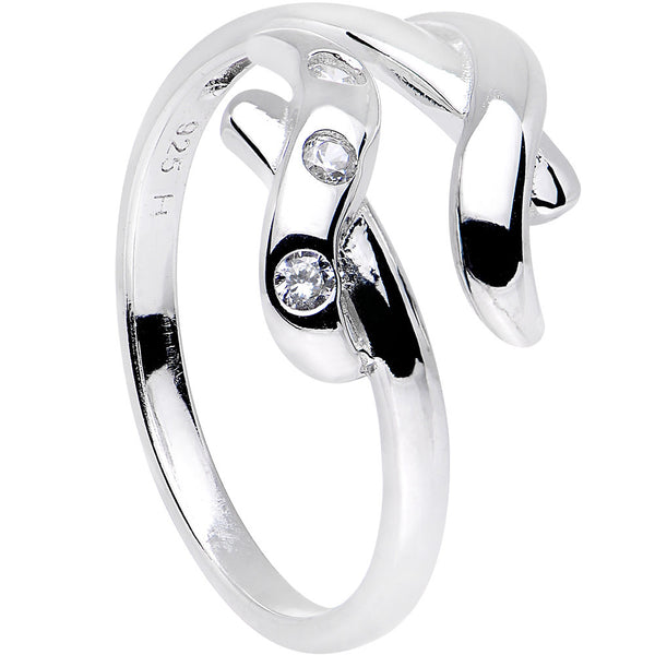 Sterling Silver 925 Cubic Zirconia Crisscross Toe Ring
