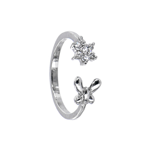 Sterling Silver 925 Cubic Zirconia Flower Butterfly Toe Ring