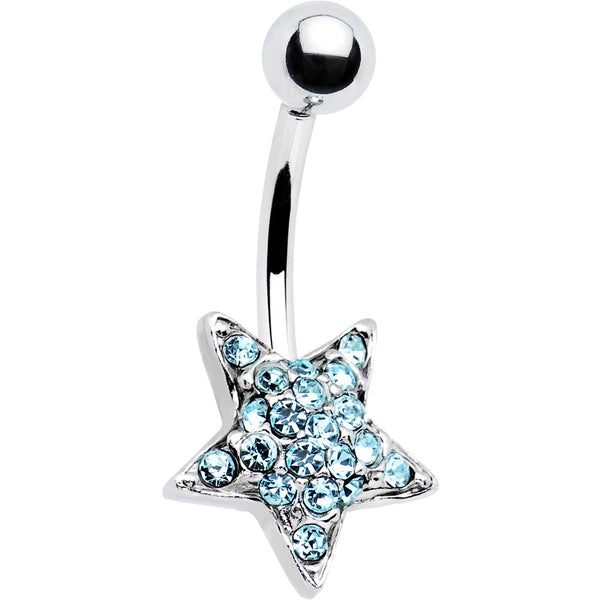 TWILIGHT STAR  Solar Blue Gem Banana Belly Ring