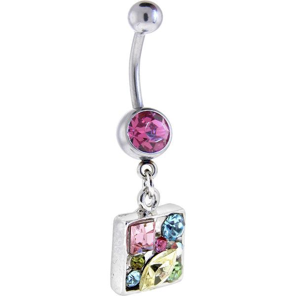 Prismatic CLUSTER DIAMOND Dangle Belly Ring