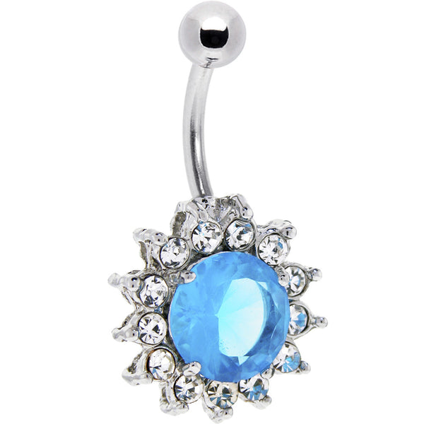 Aqua Crystal Cubic Zirconia Yorkshire Belly Button Ring
