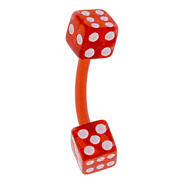 Bioplast Red Dice Belly Ring